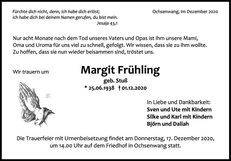 Trauer Margit Frühling <br><p style=