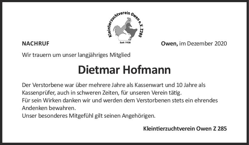 Nachruf Dietmar Hofmann <br><p style=