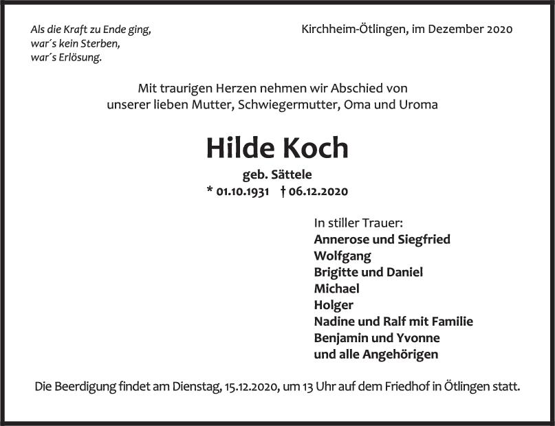 Trauer Hilde Koch <br><p style=
