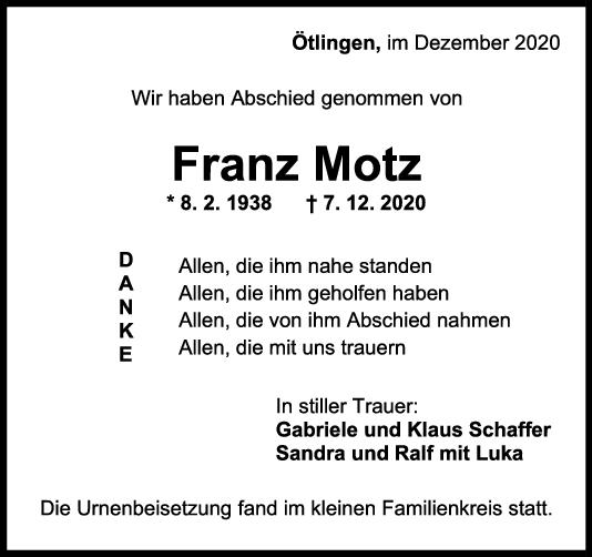 Trauer Franz Motz <br><p style=