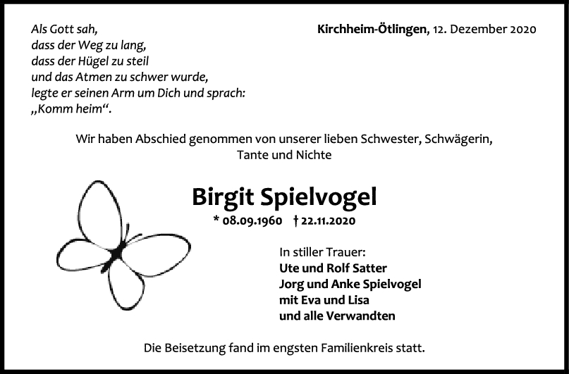 Trauer Birgit Spielvogel <br><p style=