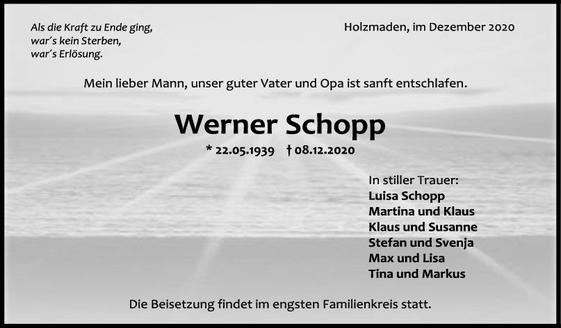 Trauer Werner Schopp <br><p style=