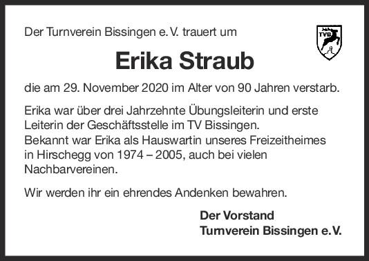 Nachruf Erika Straub <br><p style=