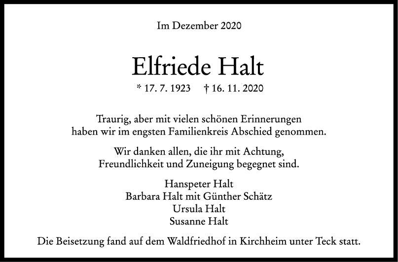 Trauer Elfriede Halt <br><p style=