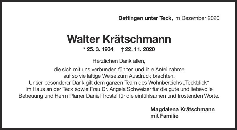 Danksagung Walter Krätschmann <br><p style=