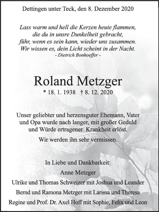 Trauer Roland Metzger <br><p style=