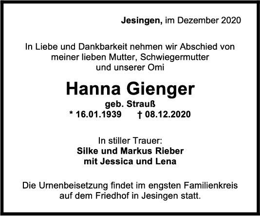 Trauer Hanna Rieger <br><p style=