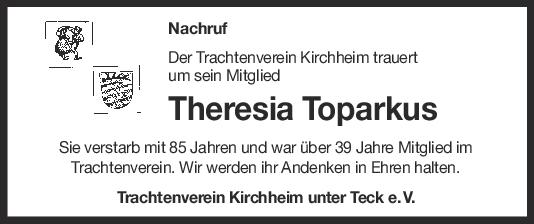 Nachruf Theresia Toparkus <br><p style=
