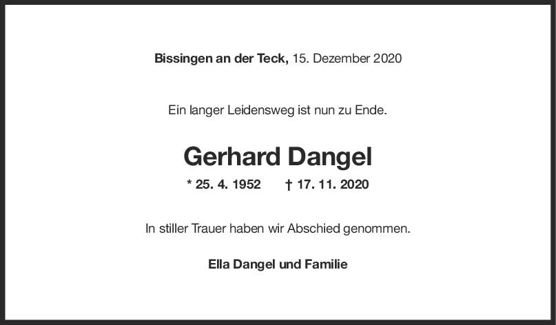 Trauer Gerhard Dangel <br><p style=