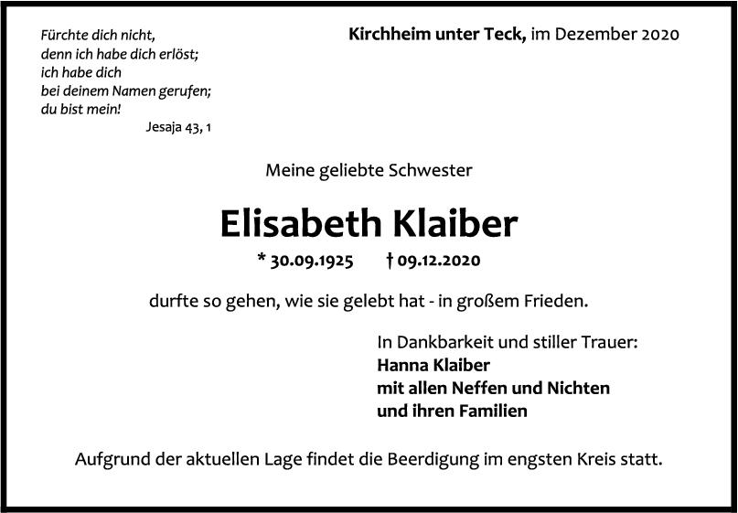 Trauer Elisabeth Klaiber <br><p style=
