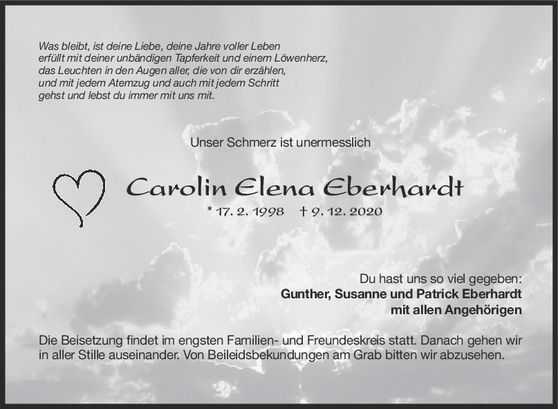 Trauer Carolin Eberhardt <br><p style=
