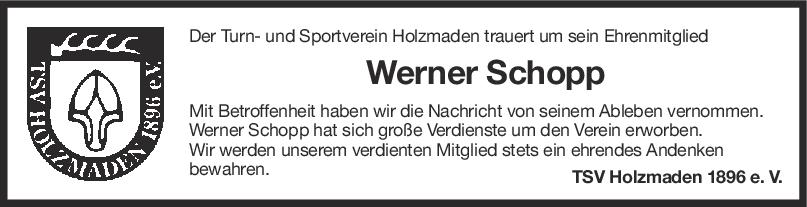 Nachruf Werner Schopp <br><p style=