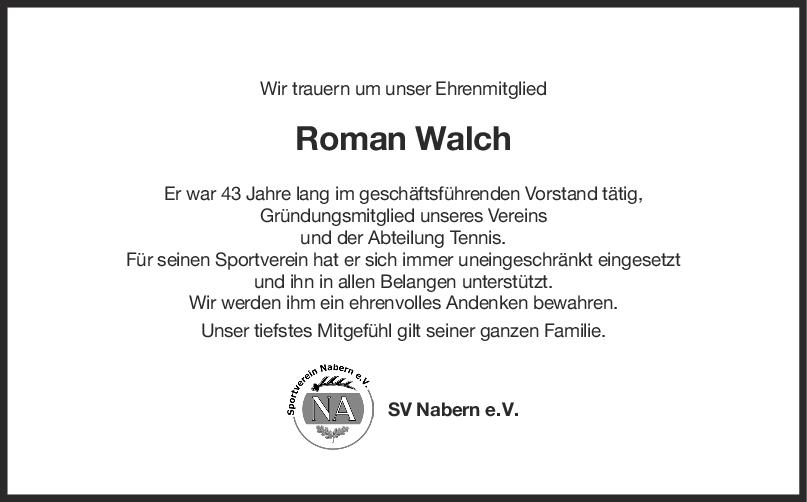 Nachruf Roman Walch <br><p style=