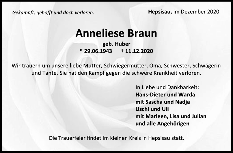Trauer Anneliese Braun <br><p style=