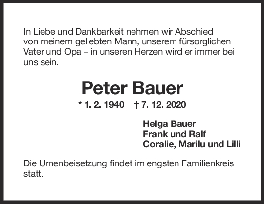Trauer Peter Bauer <br><p style=