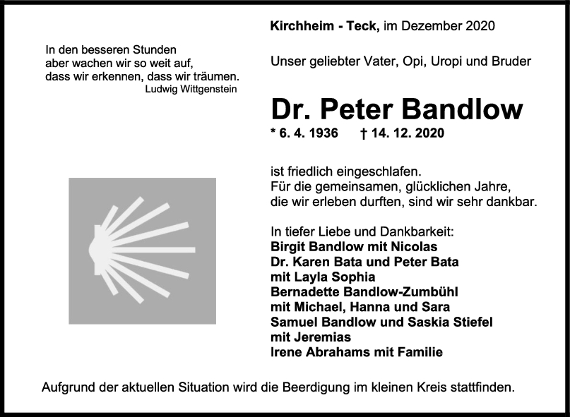 Trauer Dr. Peter Bandlow <br><p style=