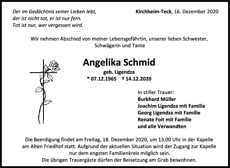 Trauer Angelika Schmid <br><p style=