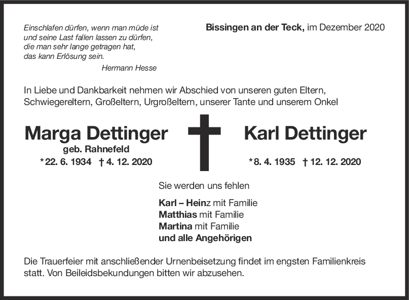 Trauer Marga und Karl Dettinger <br><p style=