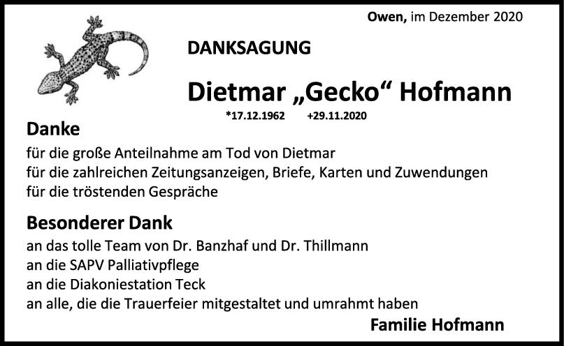 Danksagung Dietmar Hofmann (Gecko) <br><p style=