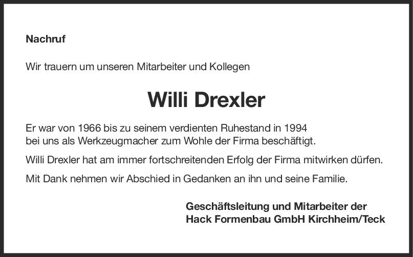 Nachruf Willi Drexler <br><p style=