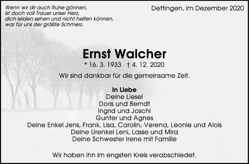 Trauer Ernst Walcher <br><p style=