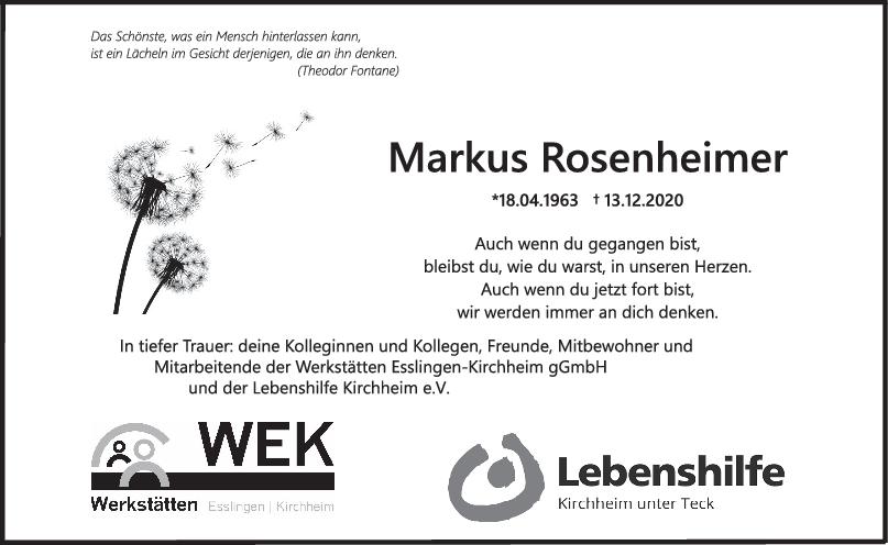 Nachruf Markus Rosenheimer <br><p style=