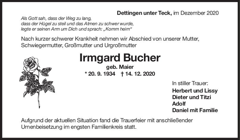 Trauer Irmgard Bucher <br><p style=