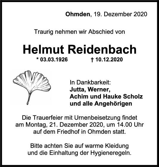 Trauer Reidenbach <br><p style=