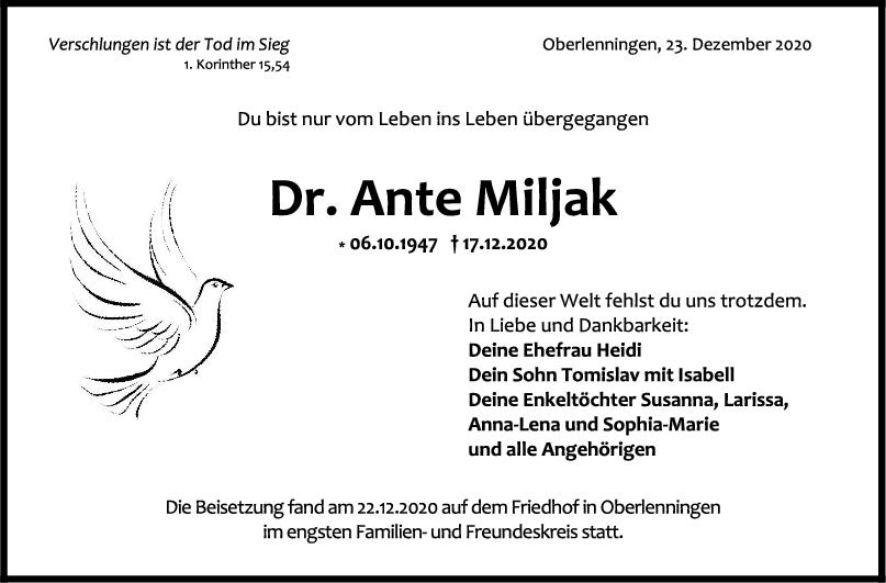 Dr. Ante Miljak <br><p style=