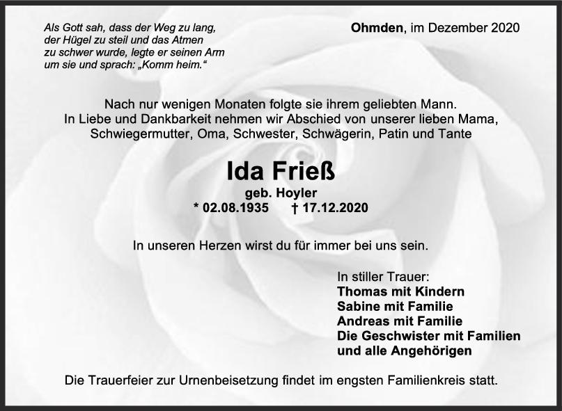 Trauer Ida Frieß <br><p style=