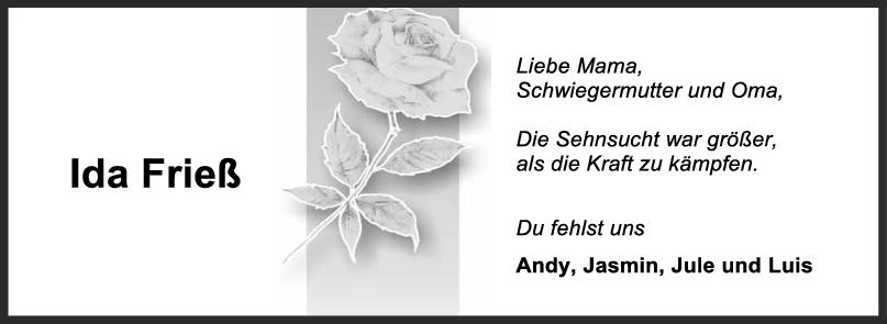 Nachruf Ida Frieß <br><p style=