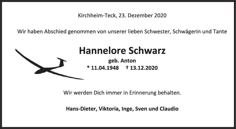 Trauer Hannelore Schwarz <br><p style=