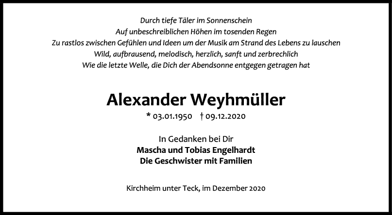 Trauer Alexander Weyhmüller <br><p style=