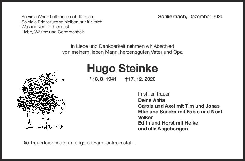 Todesanzeige Hugo Steinke <br><p style=