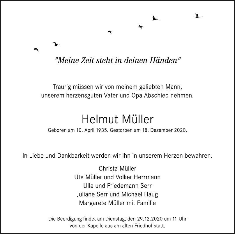 Trauer Helmut Müller <br><p style=