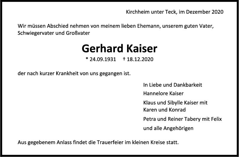 Trauer Gerhard Kaiser <br><p style=