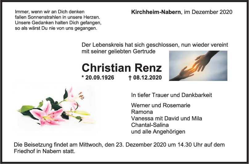 Todesanzeige Christian Renz <br><p style=