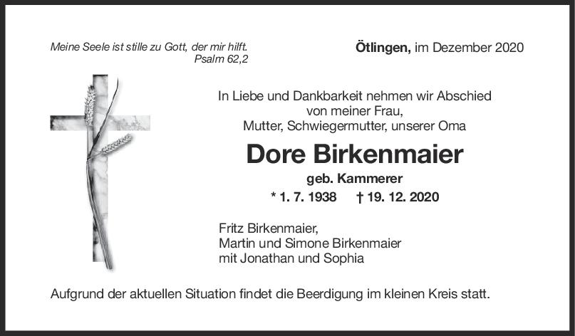 Trauer Dore Birkenmaier <br><p style=