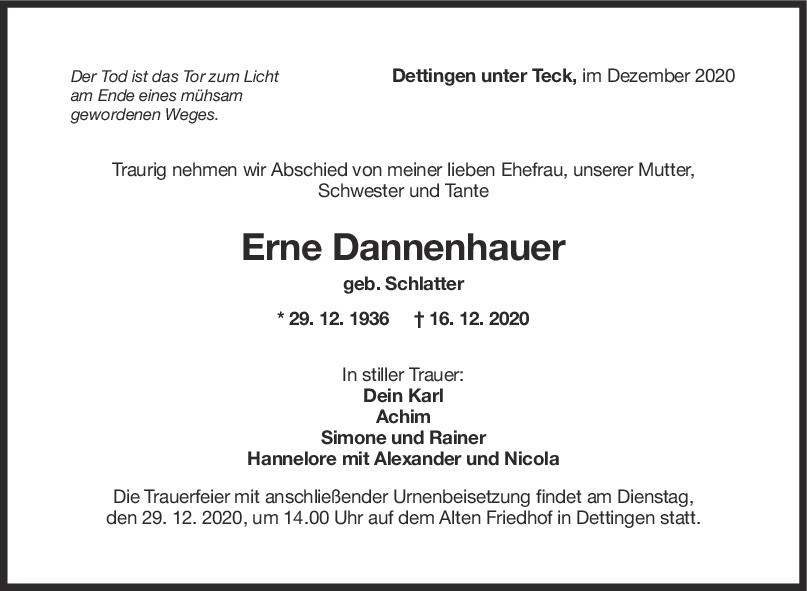 Trauer Erne Dannenhauer <br><p style=