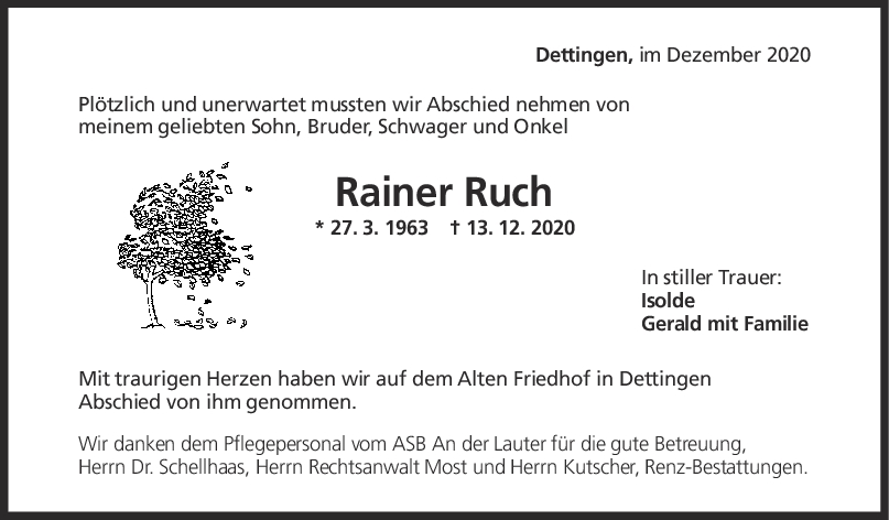 Trauer Rainer Ruch <br><p style=
