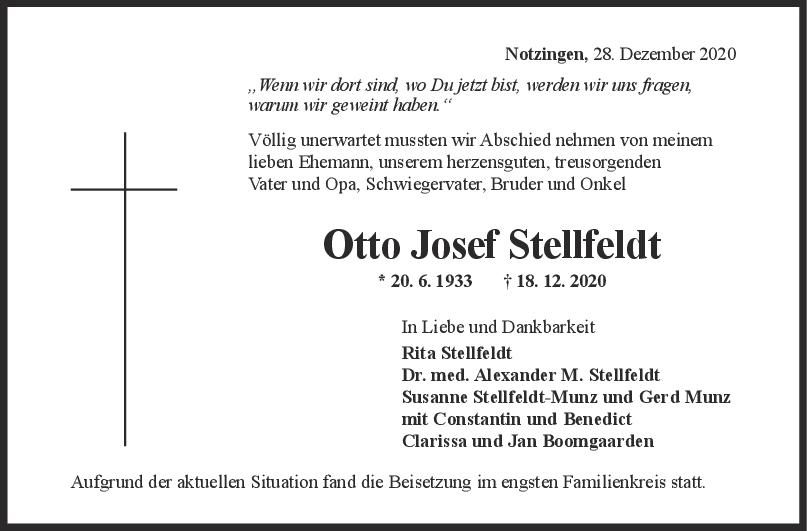 Trauer Otto Josef Stellfeldt <br><p style=