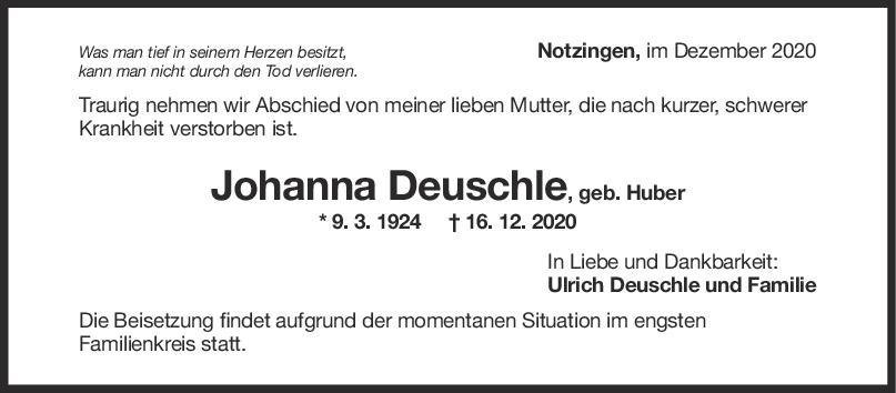 Trauer Johanna Deuschle <br><p style=
