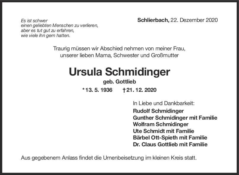 Trauer Ursula Schidinger <br><p style=