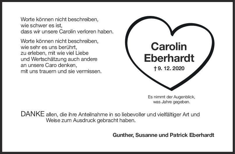 Danksagung Carolin Eberhardt <br><p style=