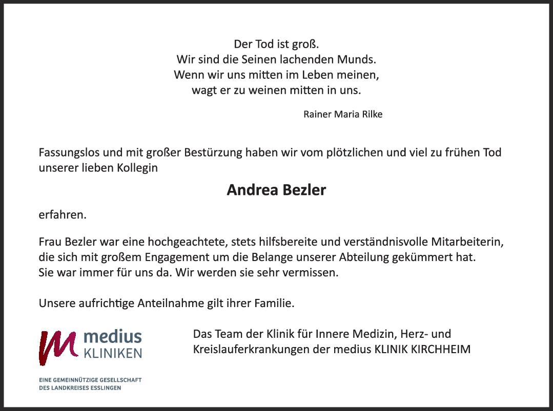 Nachruf Andrea Bezler <br><p style=