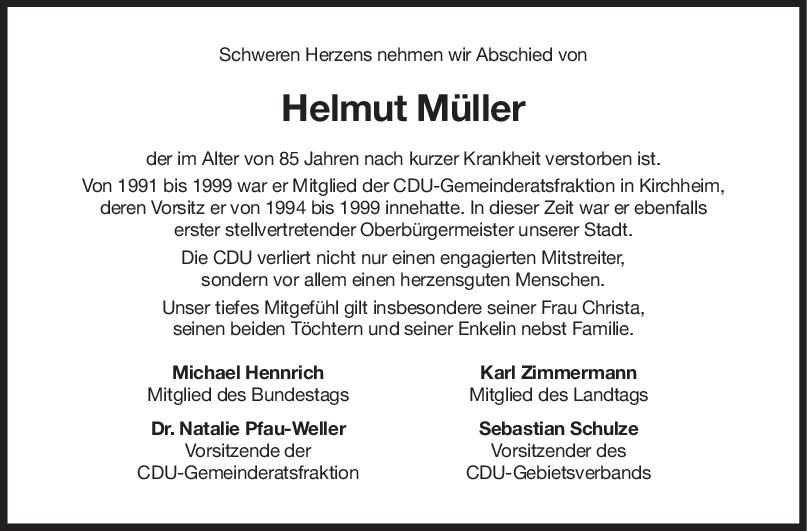 Nachruf Helmut Müller <br><p style=