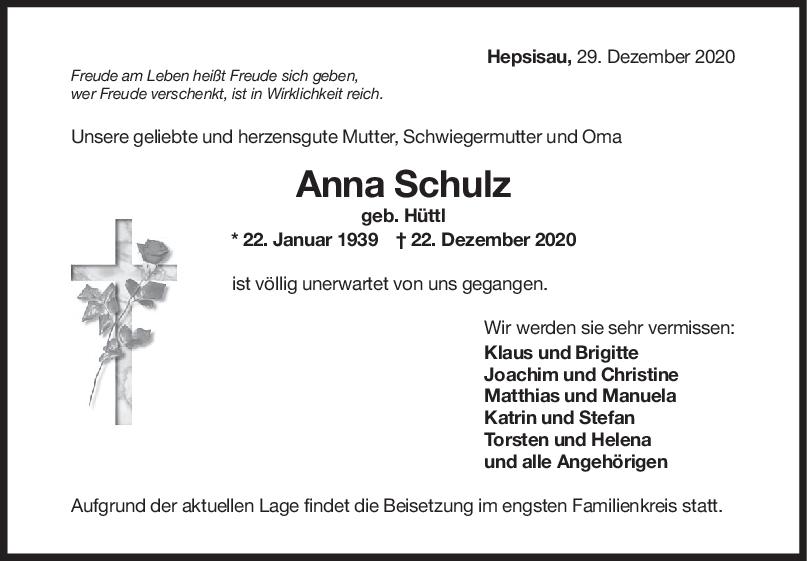 Trauer Anni Schulz <br><p style=