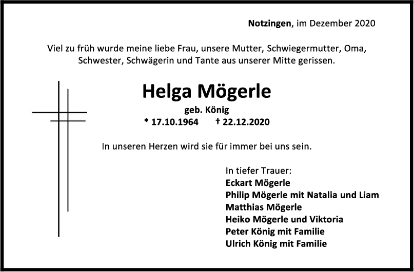 Trauer Helga Mögerle <br><p style=