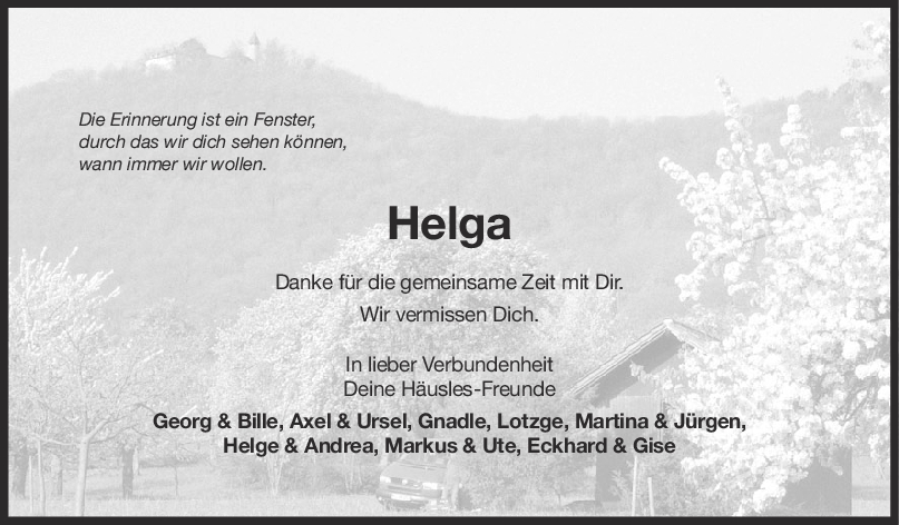 Nachruf Helga <br><p style=