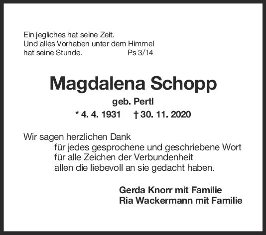 Danksagung Magdalena Schopp <br><p style=